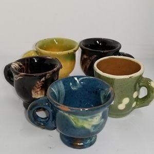 5 Vintage Ceramic Handpainted Mini Cups